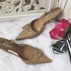 Dior Quilted Slingback Nude Heels